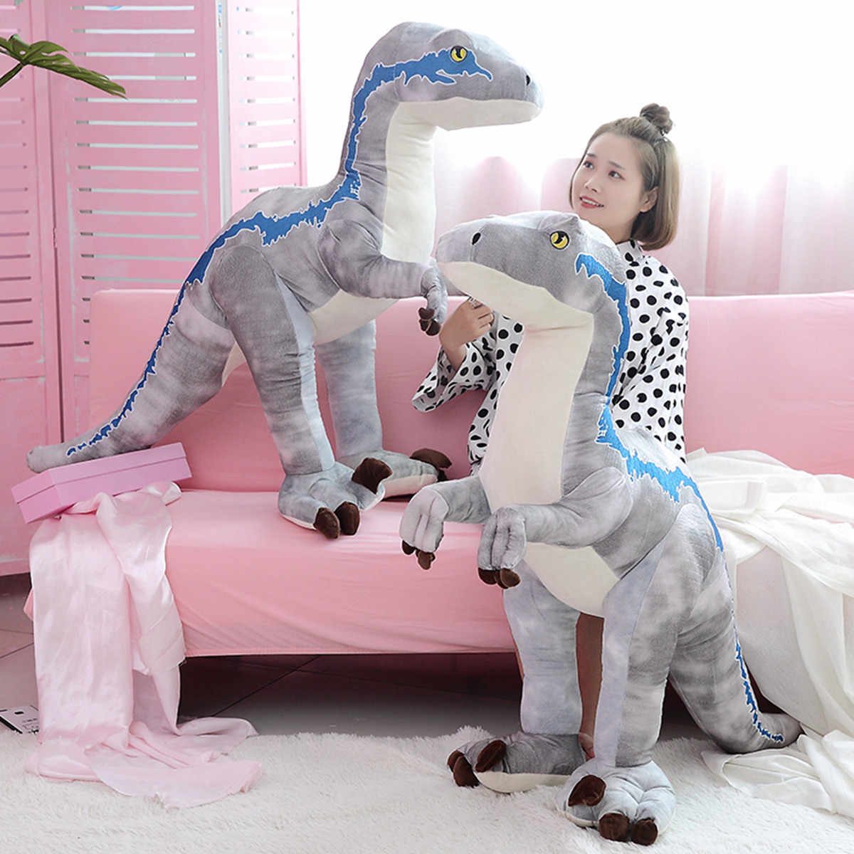 1 pc 130 cm grande macio Dinossauro Tiranossauro Bonito Gaint Pelúcia Brinquedos Dos Desenhos Animados Bonecos de Brinquedo de Pelúcia para Crianças dos miúdos Meninos presente de aniversário