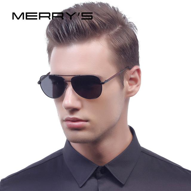 Merry's clássico da moda óculos de sol dos homens polarizada hd luxo marca designer de alumínio da aviação driving óculos de sol uv400 s'8718