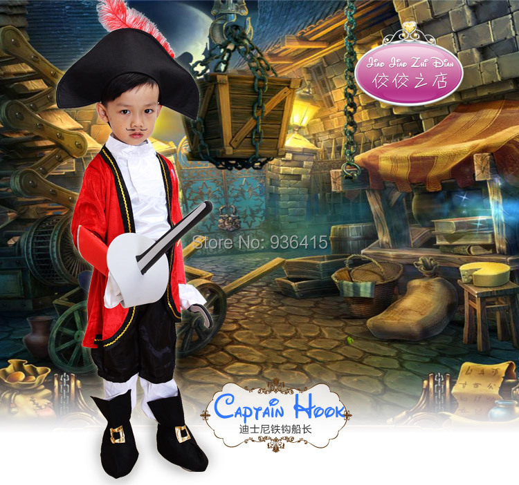 free shipping jake and the never land pirates hook cosplay clothing costume for boys costume for - Partyland Halloween Costumes