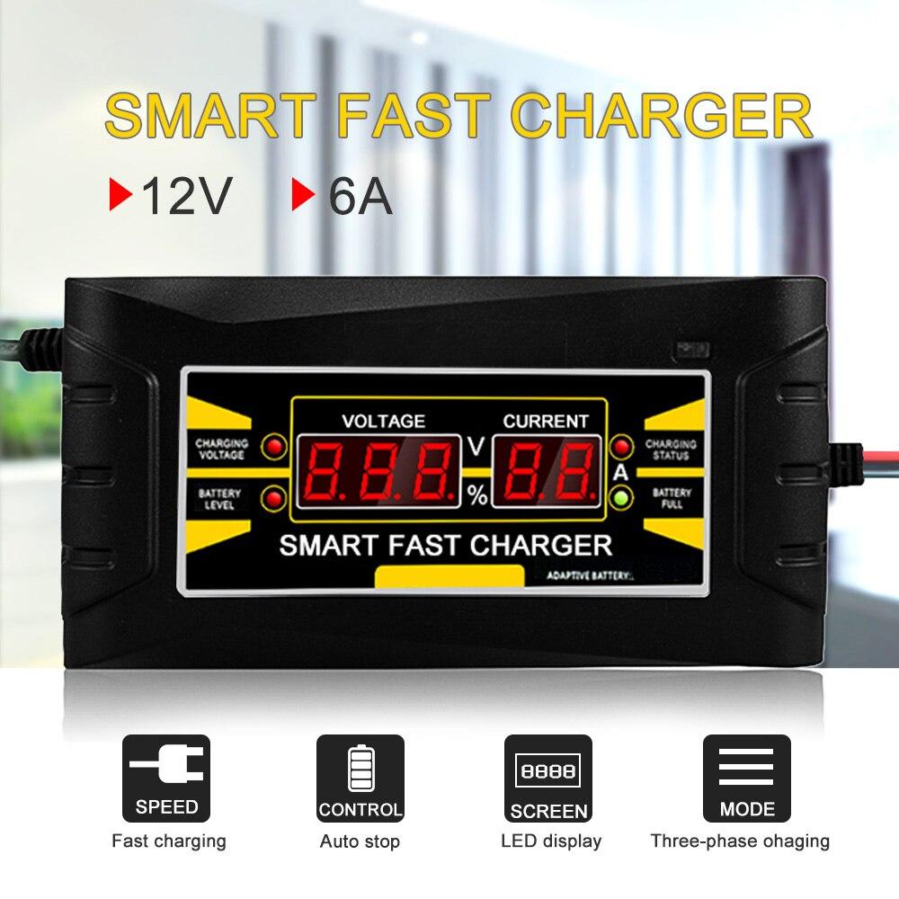 Volle Automatische Auto Batterie Ladegerät 150 v/250 v Zu 12 v 6A Smart Schnelle Power Lade Für Nass dry Blei-säure LCD Display EU Stecker