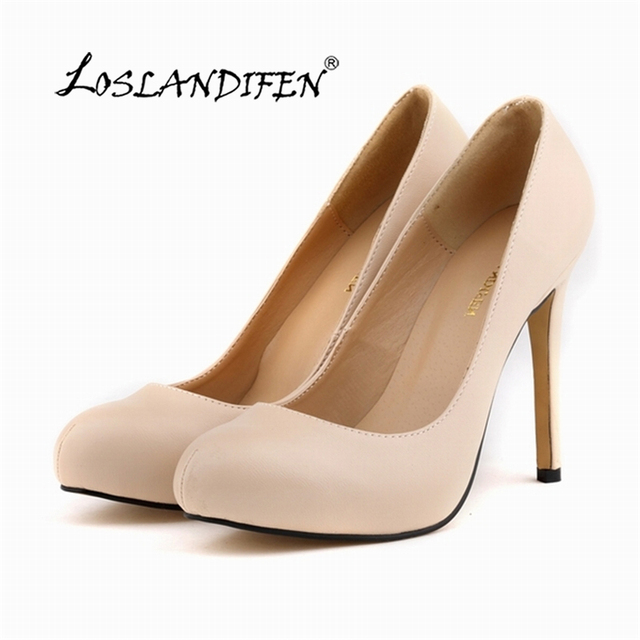 1161270793a1 Womens Pumps Round Toe Matte PU Leather Sexy High Heels Shoes Platform Nude  Work Pumps Ladies Court Shoes US4-11 806-2MA