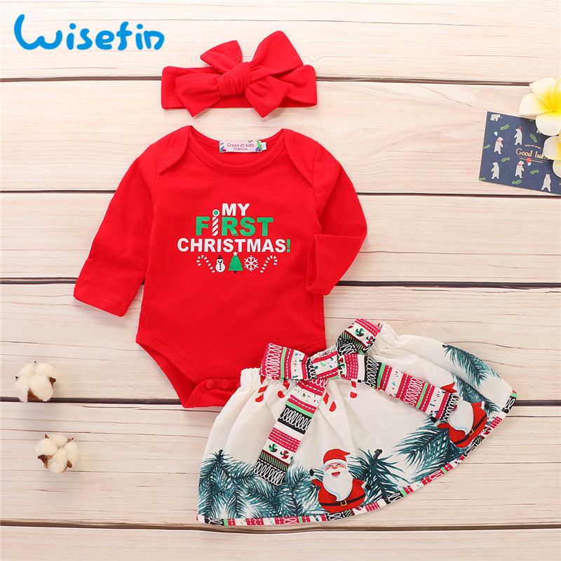 Wisefin תינוקת בגדי סט מלא עם סרט חג מולד יילוד תלבושות לילדה אדום תינוקות ראשון יום הולדת תינוק בגדי סט