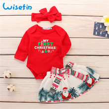 Wisefin Child Woman Garments Full Set With Headband Christmas New child Outfits For Woman Crimson Toddler First Birthday Child Clothes Set