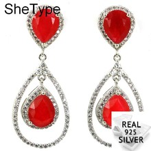 Romantic 9.7g Drop Real Red Ruby White Cubic Zirconia Gift For Woman's 925 Solid Sterling Silver Earrings 42x17mm