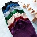 El otoño Y el Invierno Retro Pliegue Bottoming7colors Terciopelo Cuello de Manga Larga T-Shirt Mujeres 585