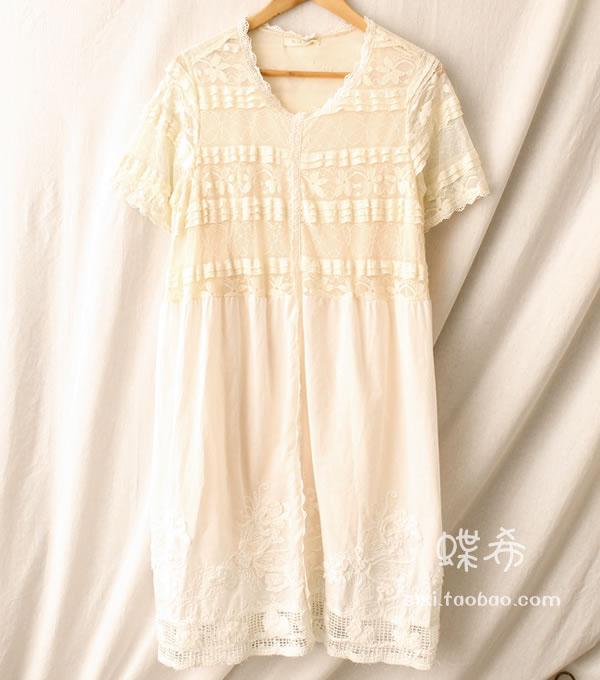 Vintage Style Lolita Ethnique Japonais Fille Dentelle Doux Broderie Lin D'été Robe Blanc Mori Beige Rétro Coton Boho Femmes Romantique WEDY29HI