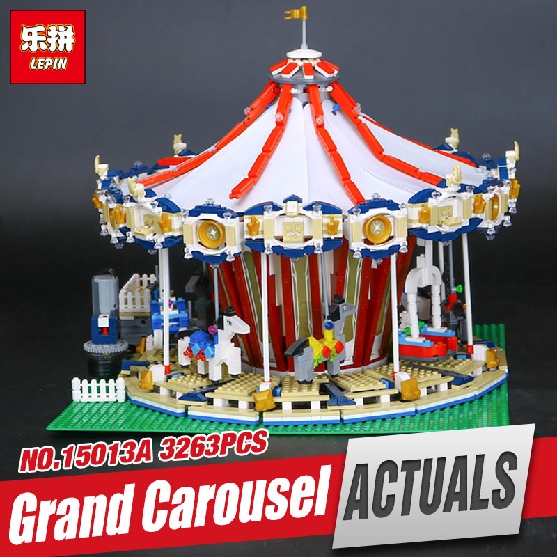 LEPIN 15013 3263pcs City Sreet Carousel Model Educational Building Kits Blocks Toy Compatible Funny Toy For Children 10196 new lepin 16008 cinderella princess castle city model building block kid educational toys for children gift compatible 71040