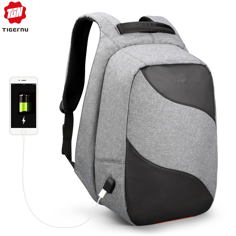 Tigernu 2019 Fashion Anti theft USB Charging 15 6inch Laptop Backpacks For Men Backpack Schoolbags Male