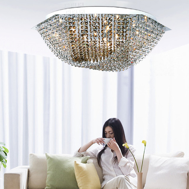 surface Hexagon Full crystal Led ceiling lights with G4 Led bulbs Bar coffee shop large champagne clear lustres crystal lamparas