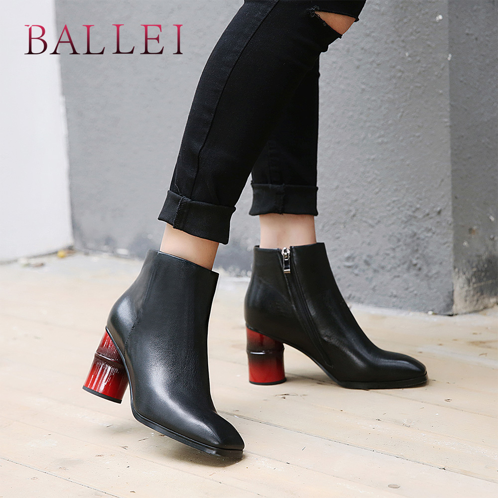 BALLEI Handmade Lady Winter Ankle Boots Excessive High quality Real Leather-based Spherical Toe Sq. Heels Sneakers Basic Strong Heat Boots B69 Ankle Boots, Low-cost Ankle Boots, BALLEI Handmade Lady...