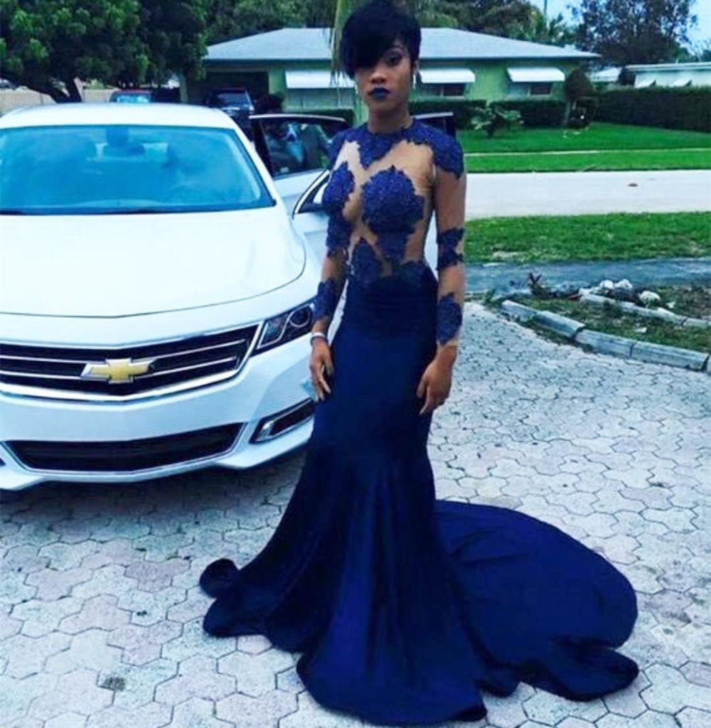 Gorgeous New Design Long   Prom     Dresses   2017 O-Neck Long Sleeves Court Train Appliques Satin Mermaid Evening Formal   Dress