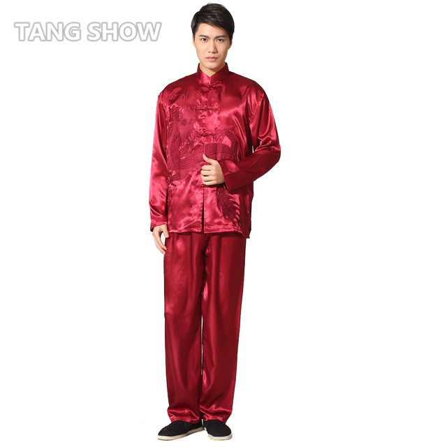 Gold Vintage Embroidery Dragon Chinese Men's Satin Kung Fu Suit Traditional Tai Chi Sets Wu Shu Uniform S M L XL XXL