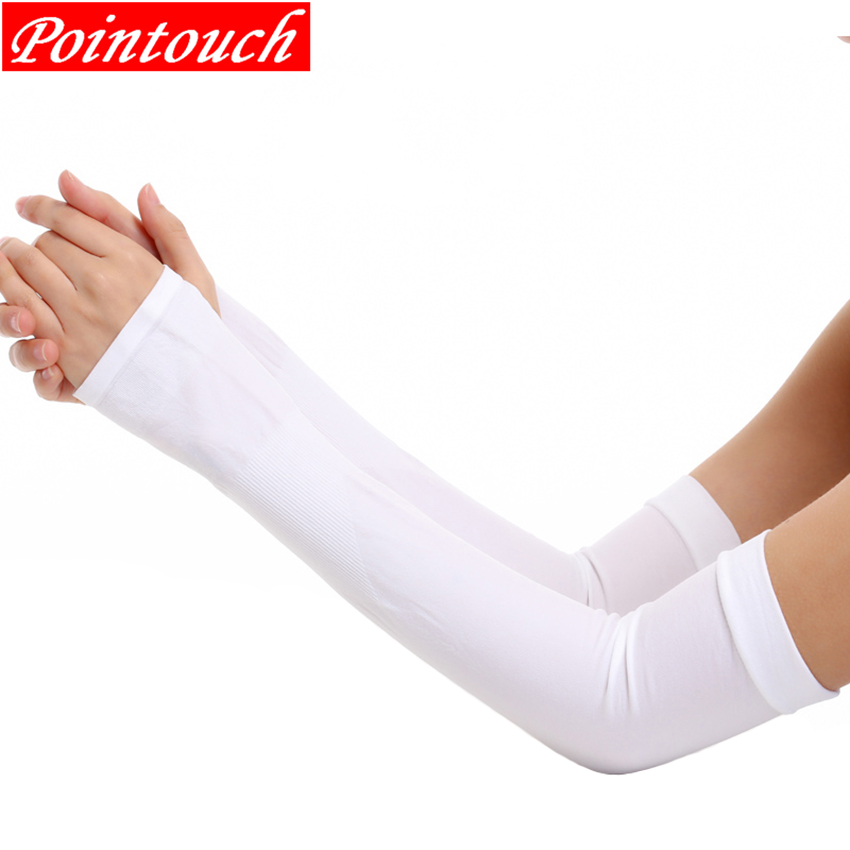 Running Arm Sleeves Ice Silk Sunscreen Sun-resistant Long Gloves Solid Basketball Armguards Sports Cycling Driving Arm Warmers
