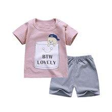 Baby Boys Clothes Set Summer Fashion Leisure Cartoon T-shirt + Shorts Kids Korean Childrens Wear
