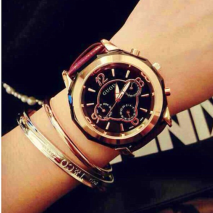 GUOU Top Brand Watch Fashion Luxury Gold Watches Leather Ladies Quartz Watch Women Watches Hour montre femme relogio feminino new top brand guou women watches luxury rhinestone ladies quartz watch casual fashion leather strap wristwatch relogio feminino