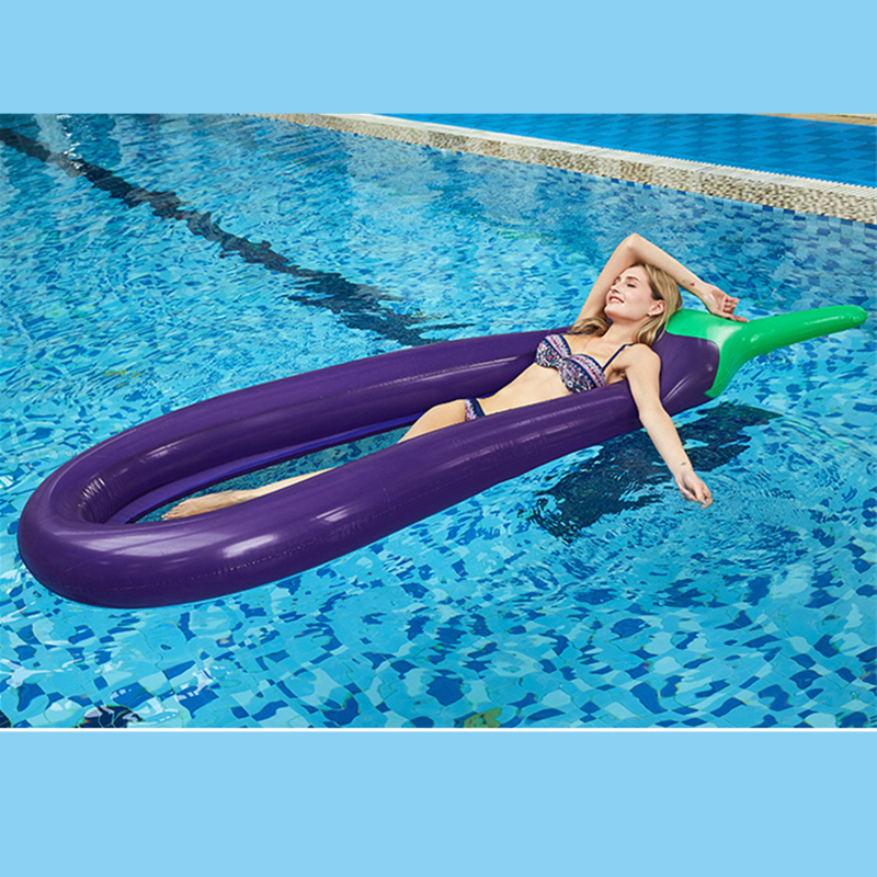 Giant Inflatable Eggplant Pool Floats Tube Raft Swimming Ring Circle Summer Water Bed Inflatable Pool Raft Adults Party Toys