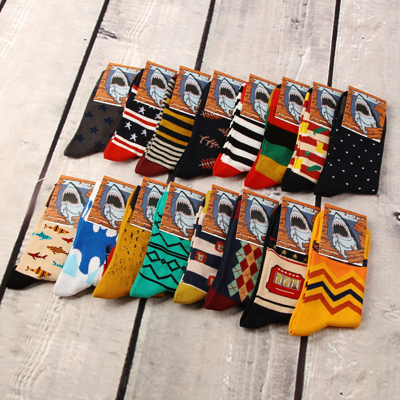 New Quality Cotton Funny Shark Cartoon Designs Crew Harajuku Compression   Socks   Colorful Casual Wome Happy   Socks   Combed   Socks