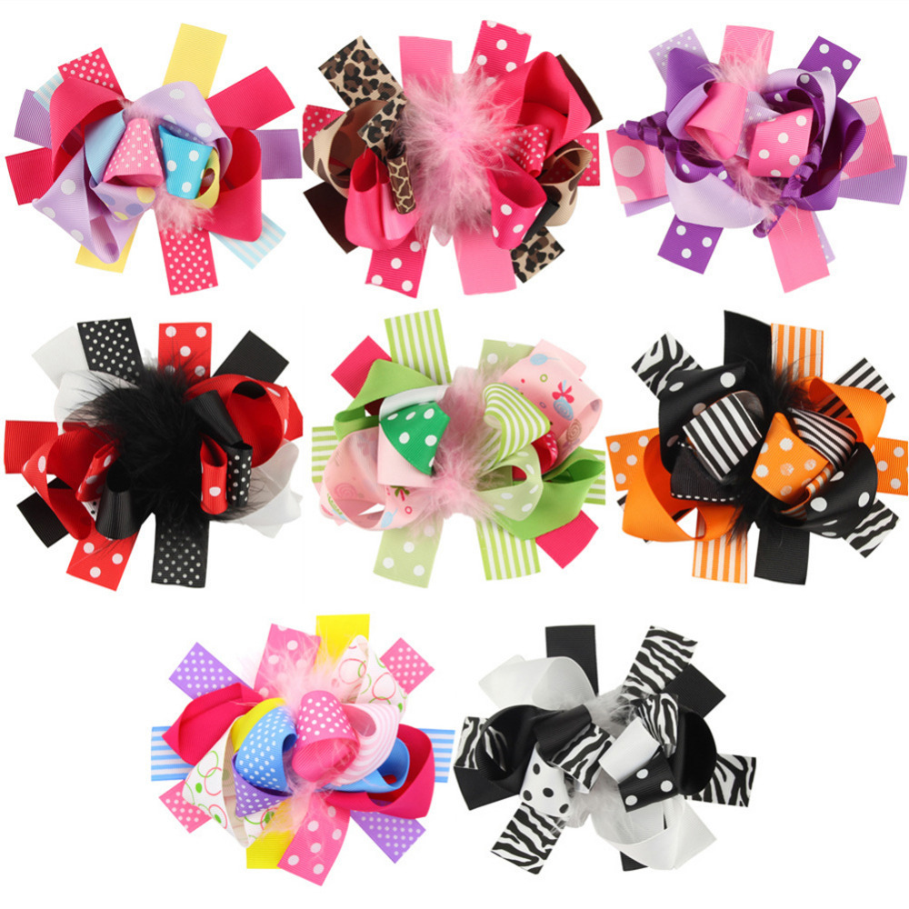 New Halloween Hair bands Toddler baby Kids Girls Feather Bowknot Hairpin Headdress hair accessories Feather Hairpin Bow