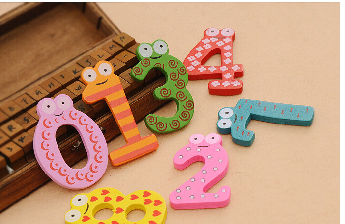 10 PCS/Set Wooden Digital Fridge Magnets/Magnetic Stickers/Childrens Early Learning Educational Maths Toy