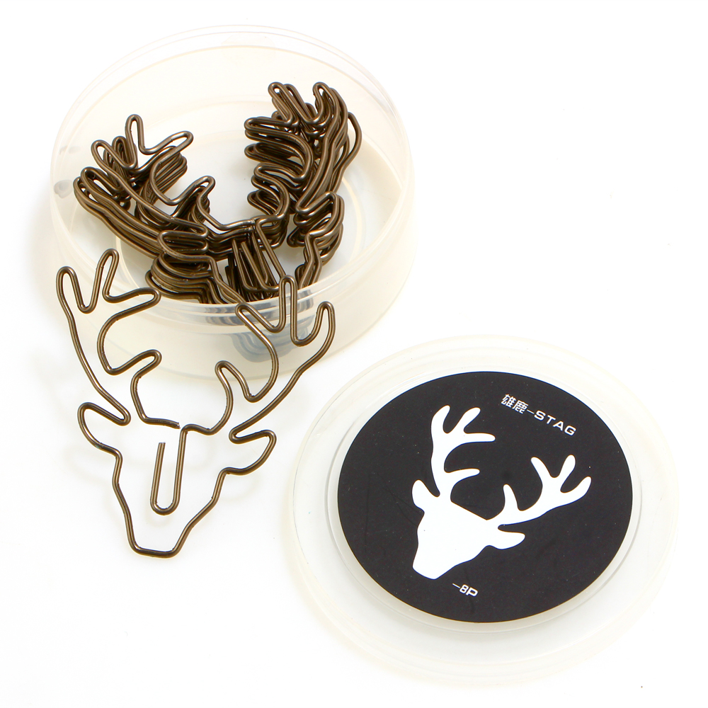 8pcs/lot Vintage Deer Paper Hollow Out Metal Binder Clips Bookmark School Students Office Stationery