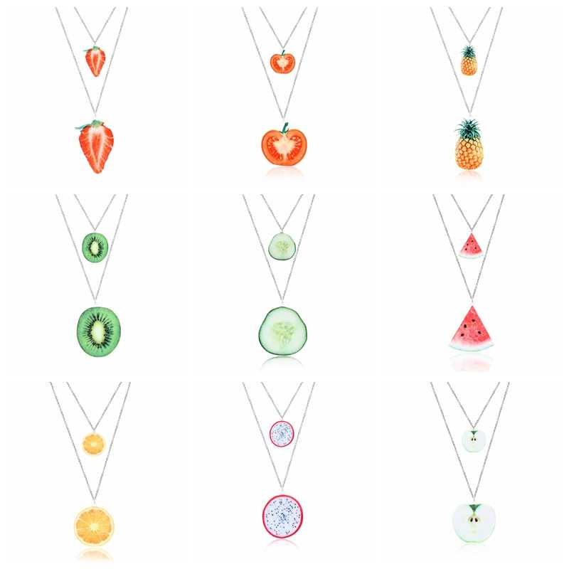 Rinhoo Acrylic Fruit Pendant Necklace Strawberry Tomato pineapple Kiwi cucumber watermelon orange Pitaya apple Necklace