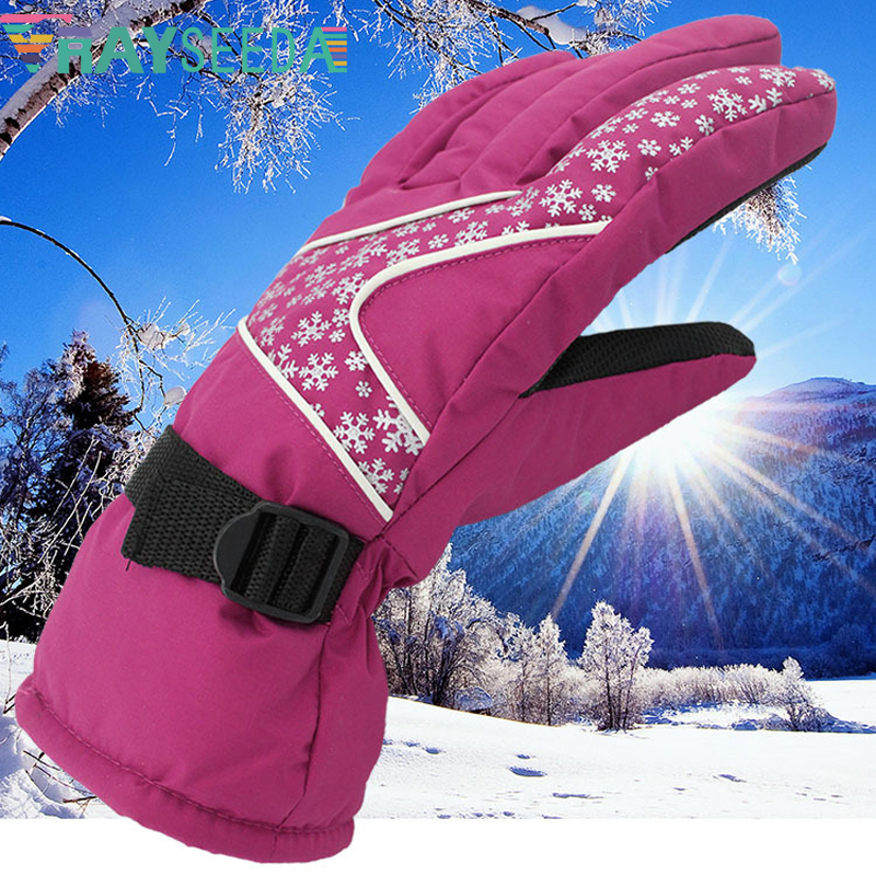 Rayseeda Adjustable Free Size Winter Keep Warm Skiing Gloves Women/ Lady Popular Outdoor Running Cycling Windproof Sports Gloves