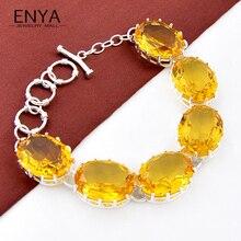 ENYA 2016 nueva Moda Brillante Cristal Amarillo Braclet Plata Topacio Plateado Pulseras Para Las Mujeres Del Banquete de Boda Joyería B1085