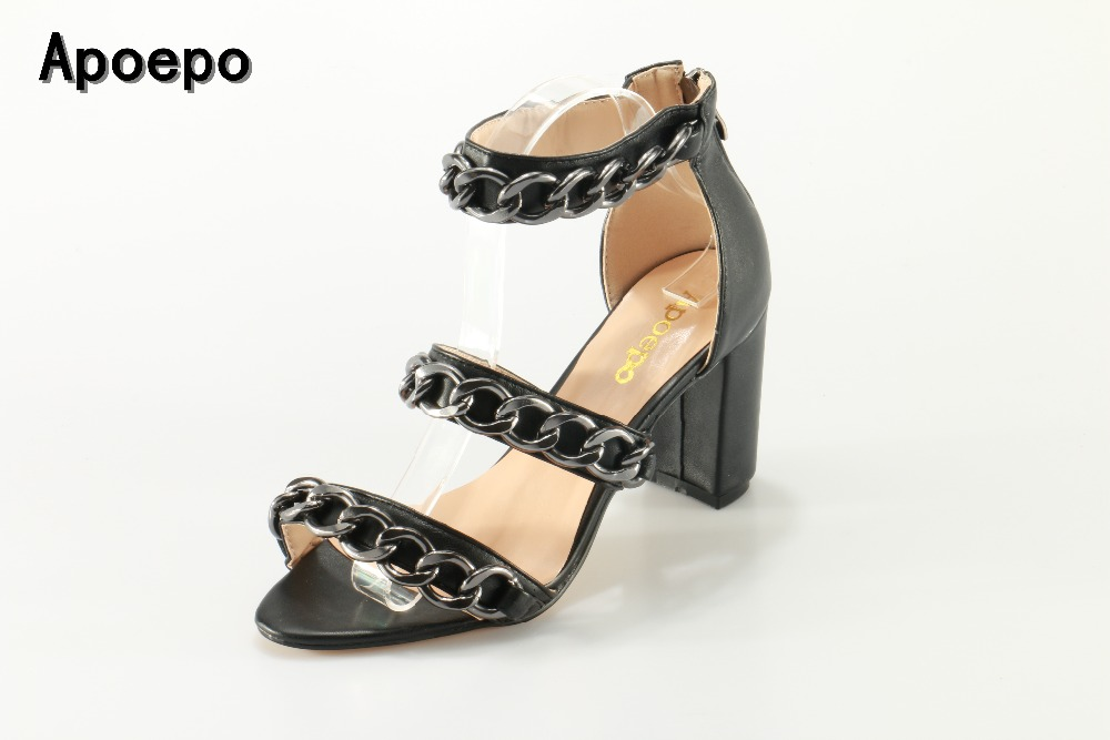 Apoepo Newest Black Leather high heel sandal summer open toe chains decorations thick heels shoes woman cutouts sandal choudory 2017 summer high heel sandal open toe glitter embellished thick heels woman shoes high quality suede ankle strap shoes