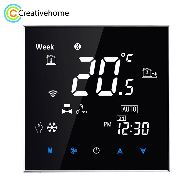 Temperature Controller 220V 5A AC Water Air Conditioning Touch LCD Digital Valve Fan Heating Room Thermostat Humidity Display new original authentic tf228wn central air conditioning fan coil thermostat large lcd digital panel