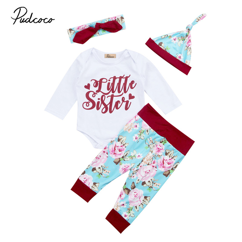 4PCS Newborn Kid Baby Girls Floral Clothes Baby Sister Top Letter Printed Romper+Long Pants Handband Outfits Set Winter Clothes newborn infant baby girl little sister romper pants headband outfits set clothes children infant girls sister clothing set 2pcs