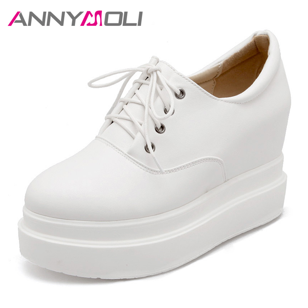 ANNYMOLI 2018 Shoes Women High Heel Platform Pumps Lace Up Shoes Increasing Wedges Round Toe Casual Ladies Shoes Spring White