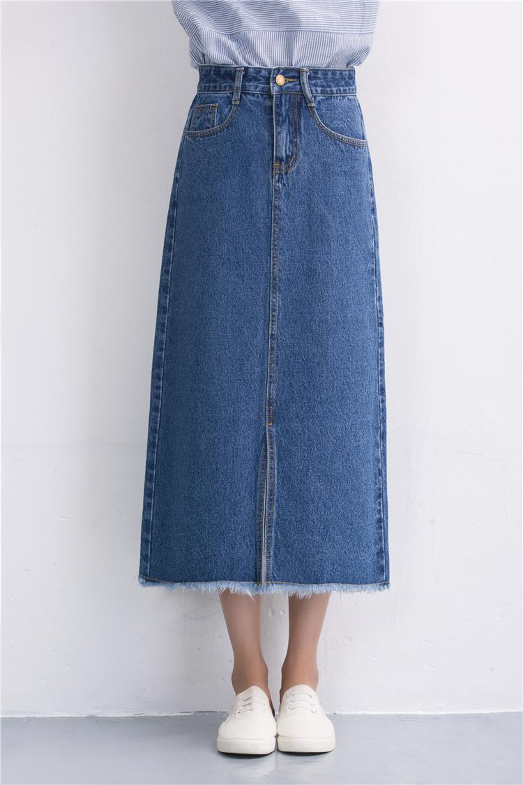 Slits a word denim skirt female 2016 new winter high waist a word length denim skirt 12