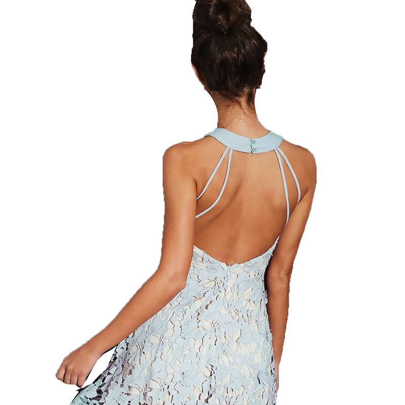 HYH HAOYIHUI 2018 Women Floral Lace Hollow Out Choker Mini Dress Bandage Backless Mini Dress Sleeveless A Line Party Dress in Dresses from Women 39 s Clothing