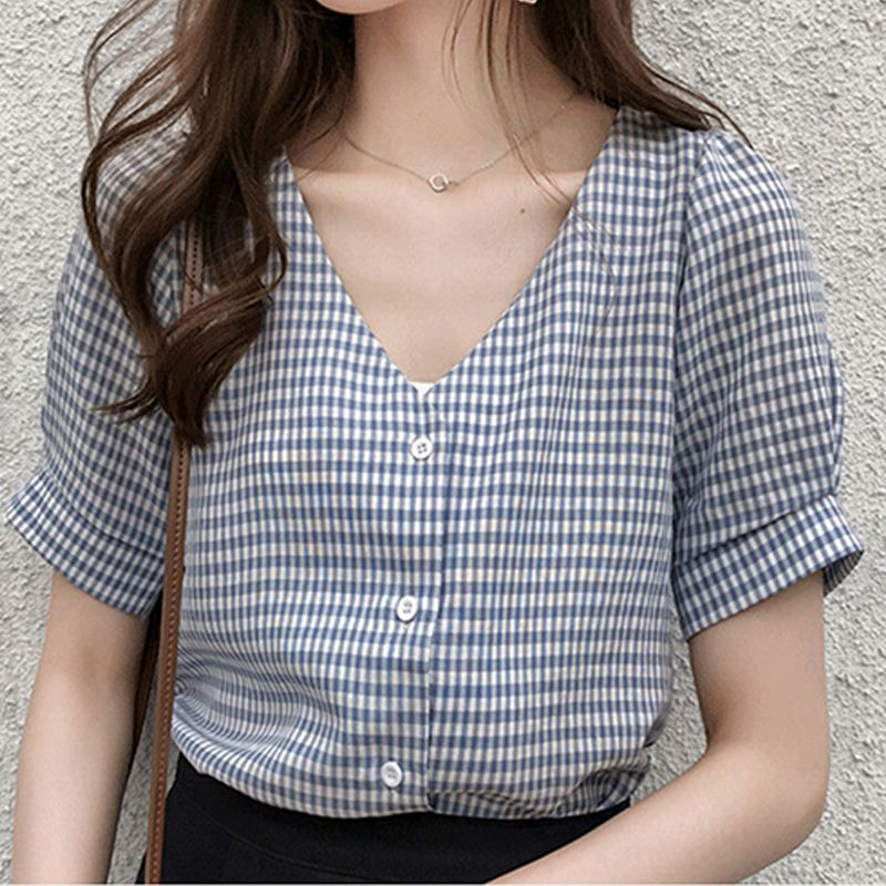 Women's Shirts Short-Sleeve Female Blouse Lady Clothing Plaid Mujer-De-Moda V-Neck Casual