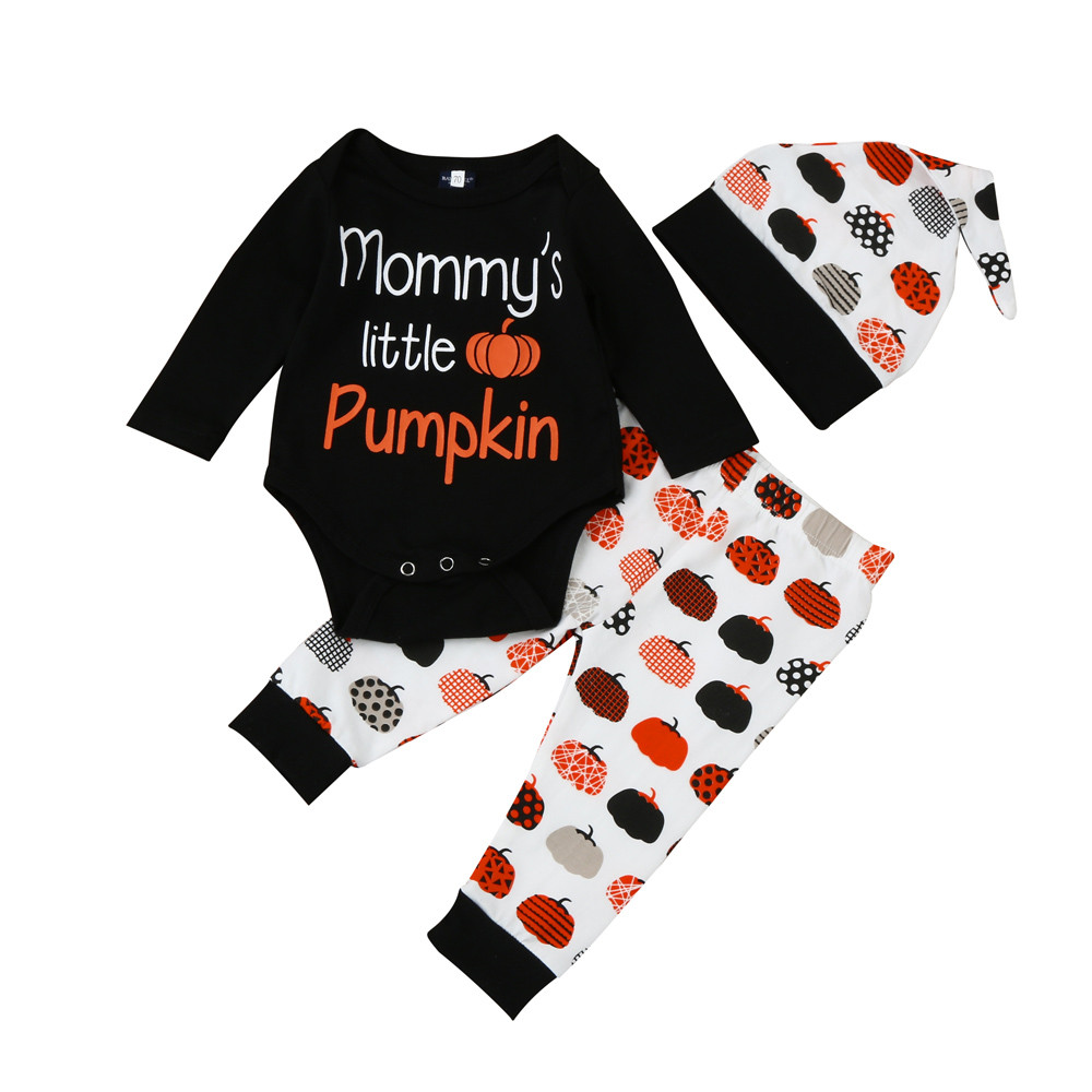 US Newborn Infant Baby Girl Letter Romper Clothes Suit Long Sleeeve Tops Print Fruit Pants Halloween Style Outfits Clothes Set 2017 spring newborn baby boy girl clothing set letter print tops pants bib hats 4pcs infant clothes 0 24m baby clothes