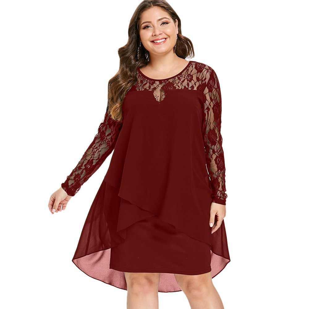Wipalo Plus Size Sheer Lace Sleeve High Low Hem Dress Casual O Neck Long  Sleeves Asymmetrical eb79f2e2b866