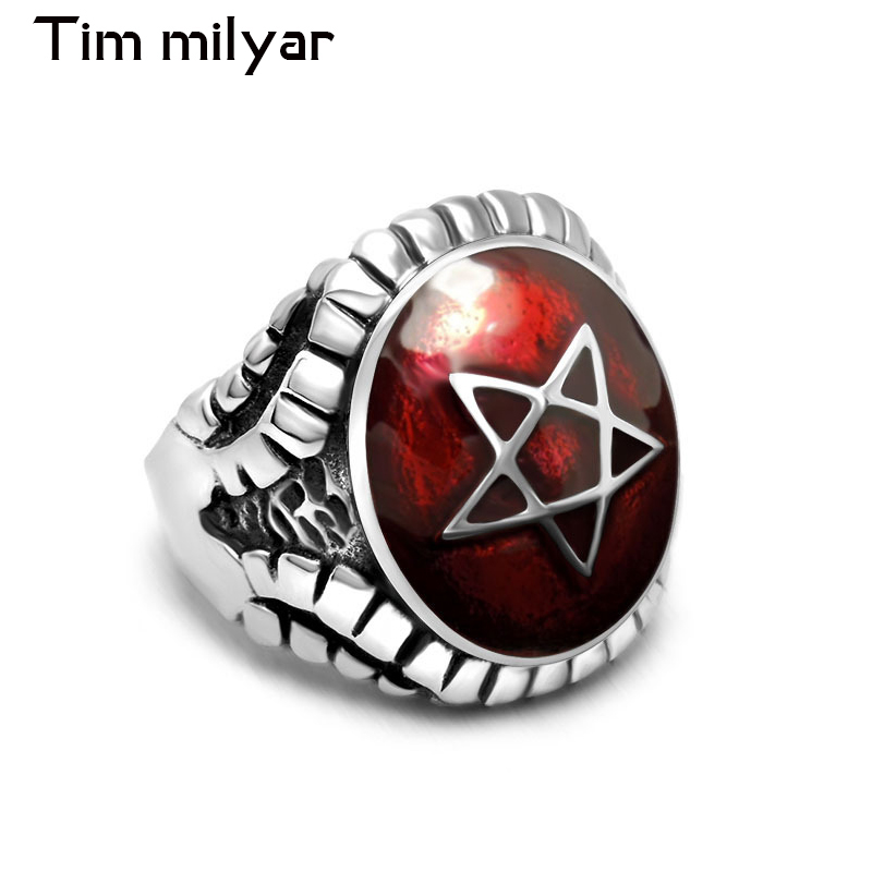 4 Colors Stone With Vintage Star Rings For Men And Women Pentagram Fashion Jewelry Titanium Steel Ring Male Female