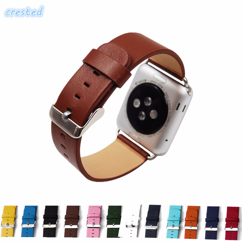 CRESTED New Style Leather Watch strap For Apple Watch band 42mm 38mm replacement wrist Classic Metal Buckle band for iwatch 1/2 windproof down women s down jacket korean latest casual fashion slim women winter coat thick warm hooded fox fur down a2399