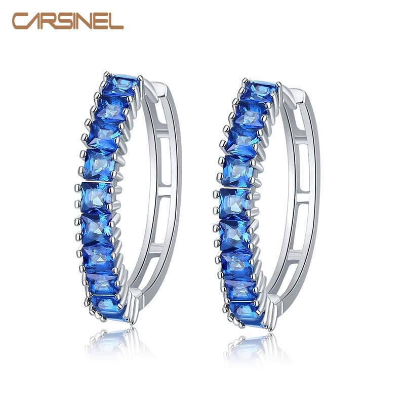 CARSINEL 브랜드 7 색 여성을위한 지르콘 스톤 후프 귀걸이 AAA 큐빅 지르코니아 후프 귀걸이 쥬얼리 실버 컬러 고품질