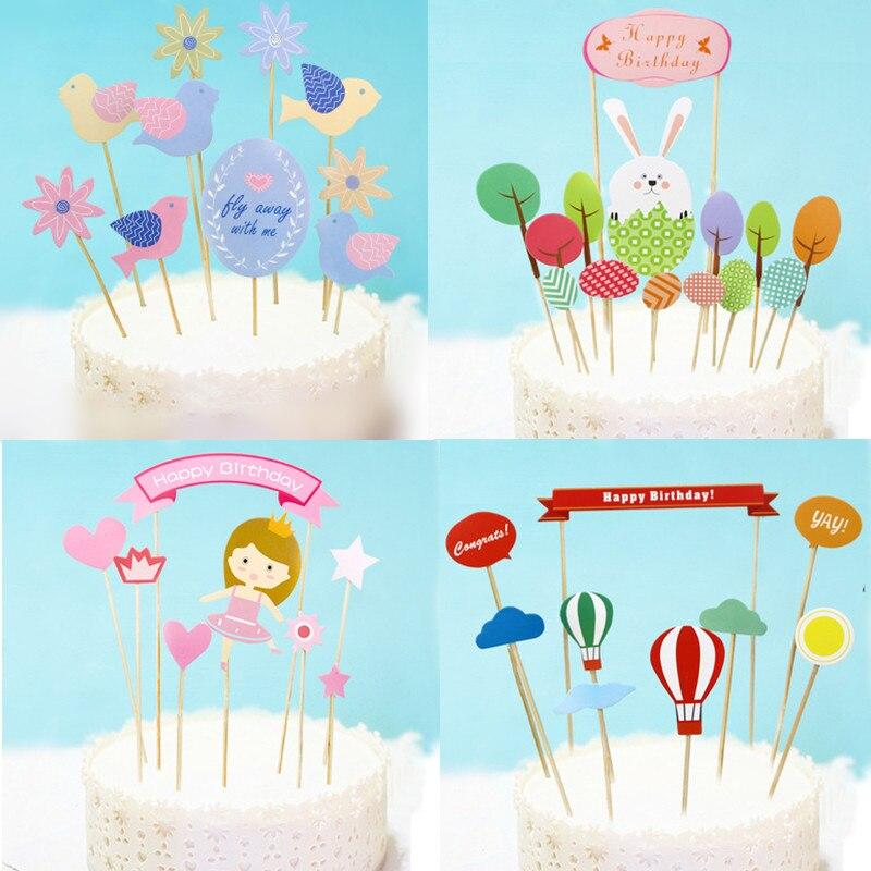 DIY Flower Birds Happy Birthday Cake Flag Rabbit Animals Balloon Cake Topper For Birthday