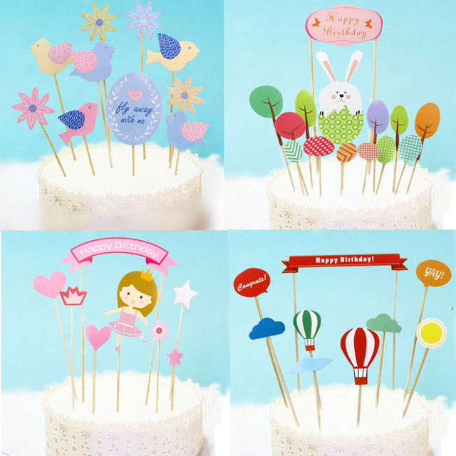 DIY Flower Birds Happy Birthday Cake Flag Rabbit Animals Balloon Topper For Wedding Party Baking Decor