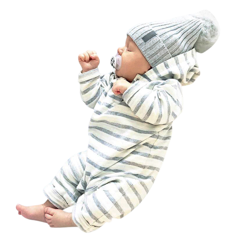 2018 New Brand Toddler Newborn Baby Boy Girls Warm Infant Romper Striped Jumpsuit Hooded Clothes Long Sleeve Outfits