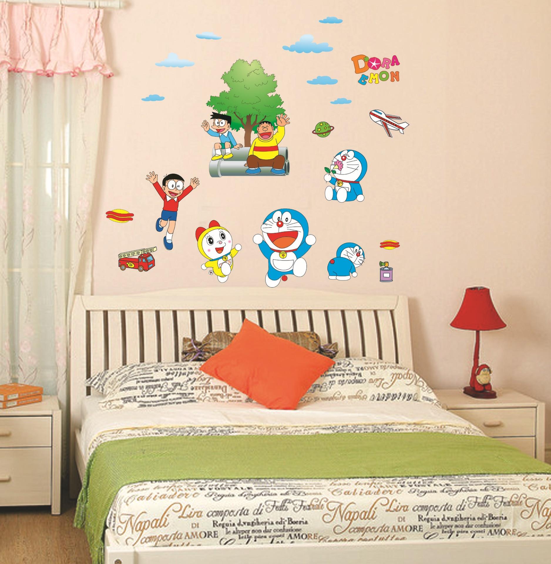 popular children room decoration doraemon stickers buy cheap diy doraemon removable 3d wall stickers kids boy room cartoon children bedroom adesivo de parede culorful