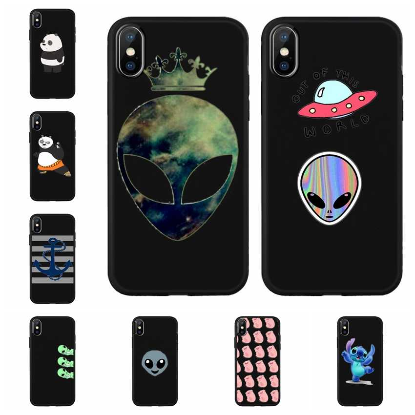 Para iphone 6 6s Plus 7 8 Além da Tampa Do Caso Preto silicone Case Capa Do Telefone Para O iphone X XR XS MAX Caso Enseada Z658