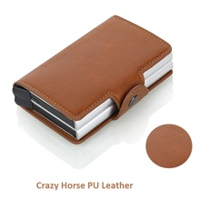 2019 New Men Business Card Holder Crazy Horse PU Leather Credit Card Holder Metal RFID Double Aluminium Box Travel Card Wallet цена и фото