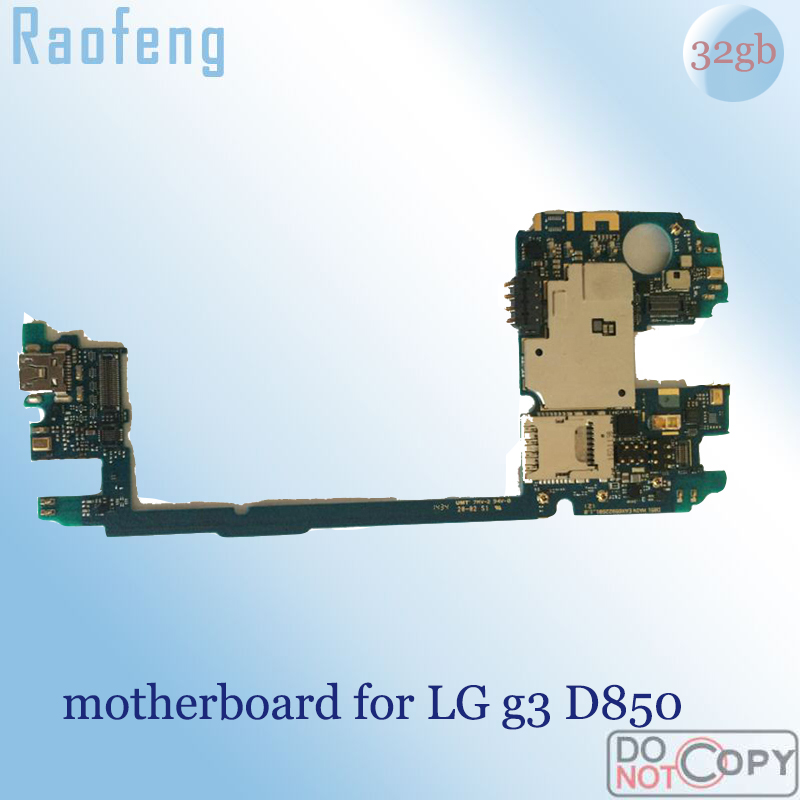Raofeng  High quality motherboard For lg g3 D850 Disassembled 32gb with  android  Unlocked Mainboard well worked with chips(China)
