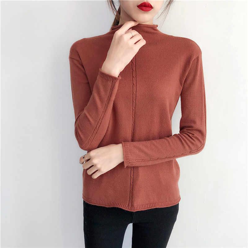 2019 Новый Половина downneck женский Возьмите свободный губами твист рубашка свитер с длинными рукавами ретро установки