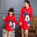 Correspondência da família Dos Desenhos Animados Hoodies Família Set Mãe e Filha Camisola Vestidos de Roupas Vestido de Mãe e Filha Roupas Família GM2