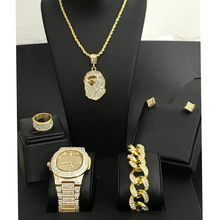 Diamond Men Watch Iced Out Cuban Hip Hop Watch &Necklace & Bracelet &Earrings &ring Combo Set Top Brand Africa Map Pendant(China)