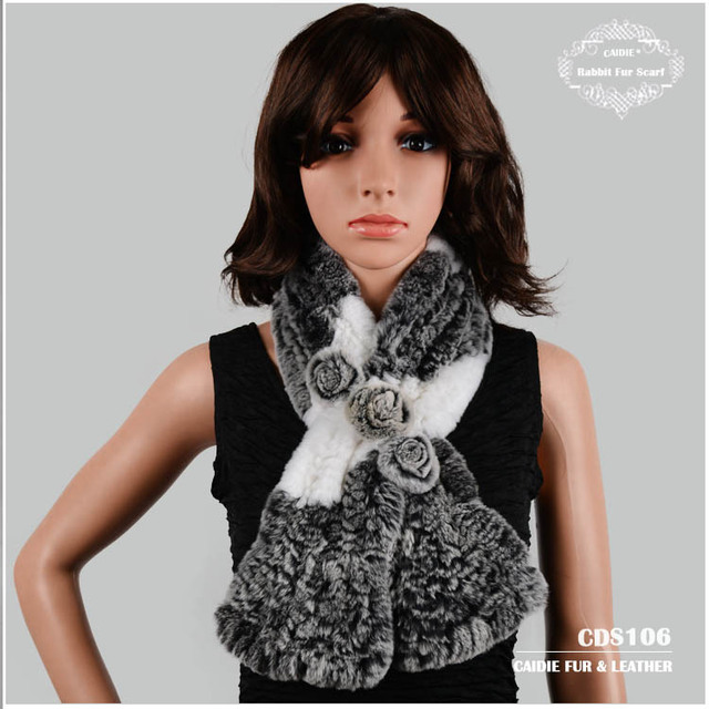 Free Shipping CDS106 Floral Flower-decorated Rex Rabbit Fur Scarf  Women Winter Scarf
